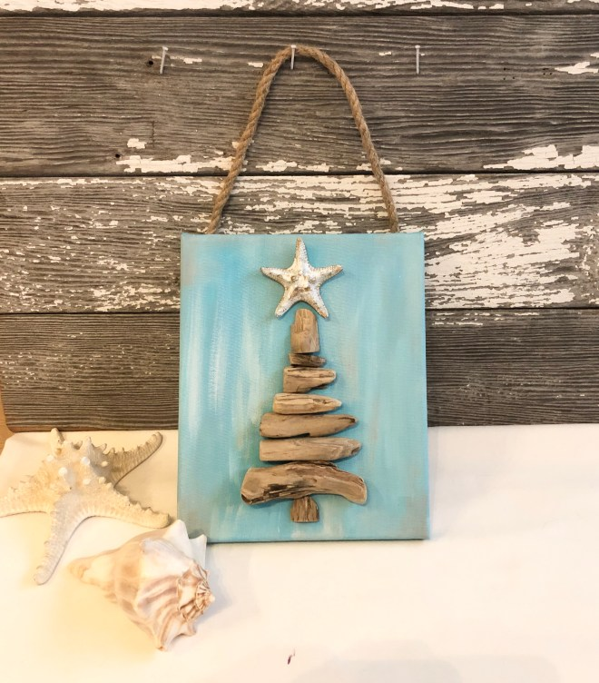 Christmas tree beach driftwood canvas craft