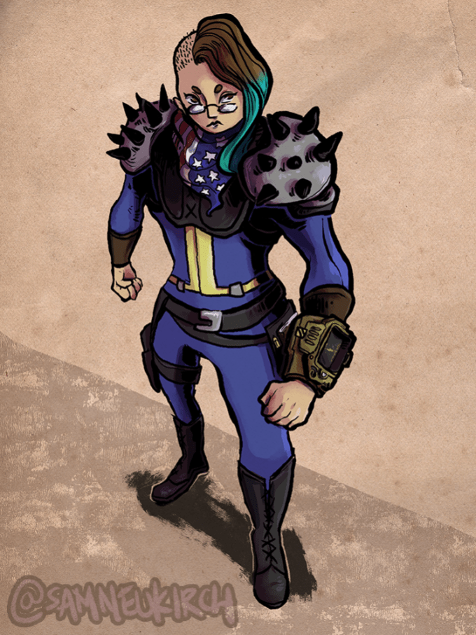 A self-portrait of my Fallout cosplay.