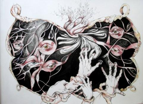 L'Écran, pen and watercolor on paper, 22'x30'