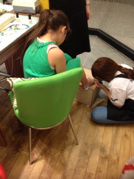 One girl choose to have her feet done instead, as she already had fancy nails.