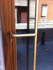 Detail of brass bar on entrance door
