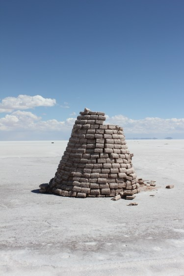A small cone-like structure demonstrates how buildings can be constructed using salt