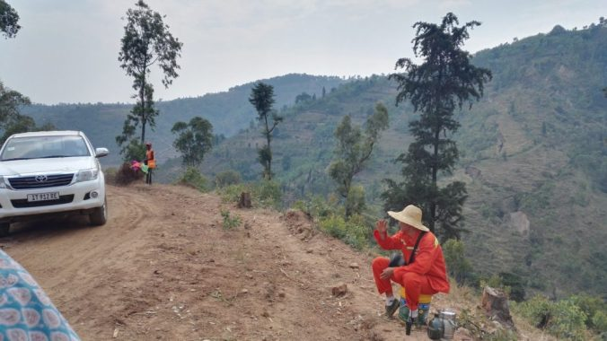 Chinese man by Rwanda road