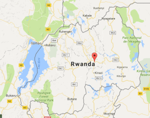 Lake Kivu (west), Kigali (centre)