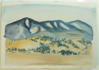 <em>California Hills</em>, 1945, watercolor on paper, 8 1/4 x 12 1/4 in.