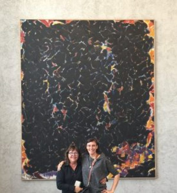 Debra Burchett-Lere, Executive Director/President and Beth Ann Whittaker-Williams, Associate Director, viewing Sam Francis, Deep Orange and Black, 1953–55, oil on canvas, Kunstmuseum Basel, Swizterland, 2017.