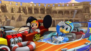 Mickey and Donald from Mickey and the Roadster Racers.