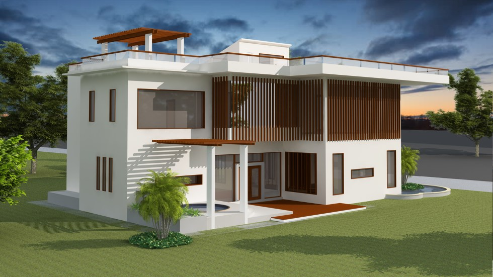 House Plan 13.5x19.8m with 4 Bedrooms