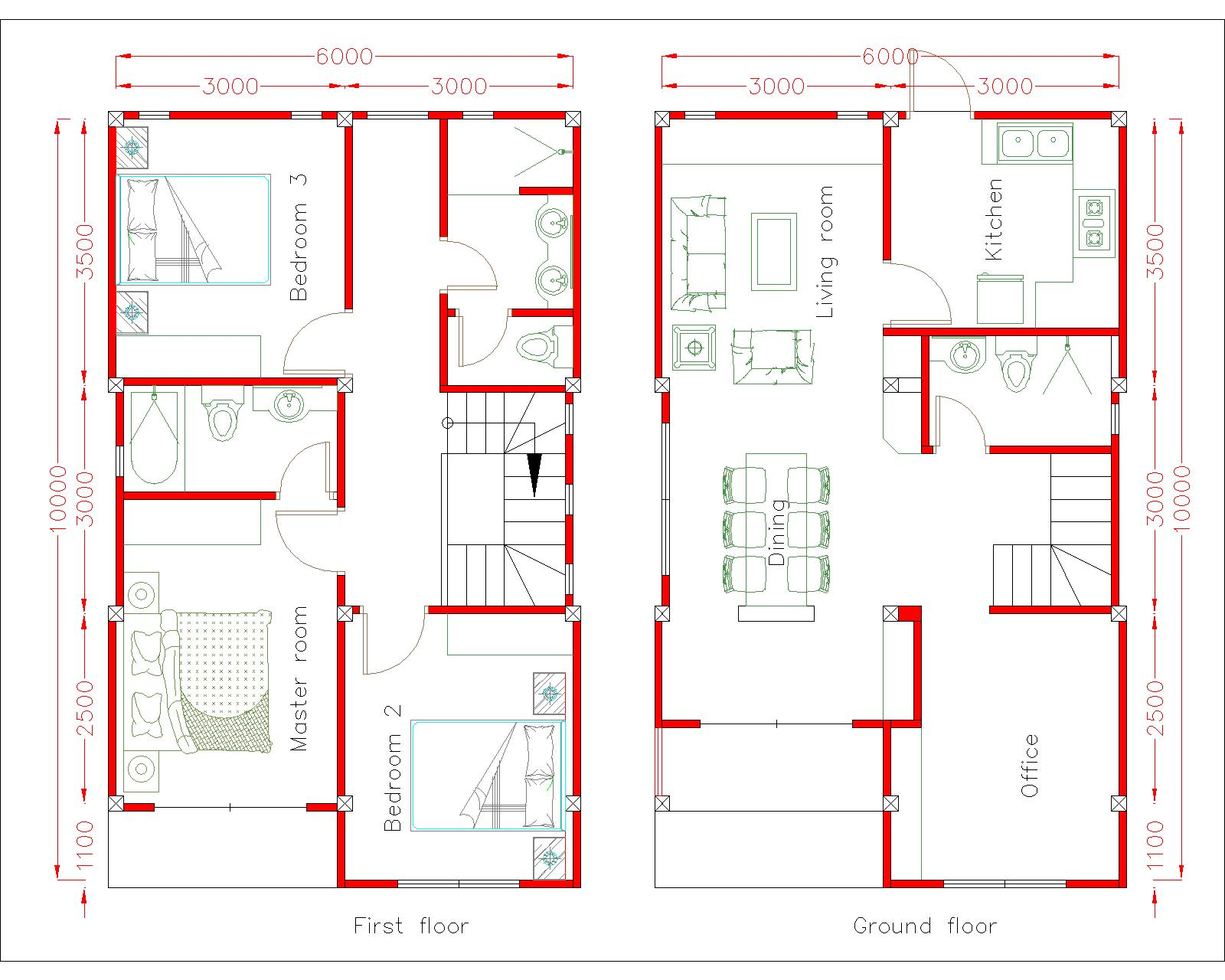 House Plans 6x10m with 3 Bedrooms - SamHousePlans
