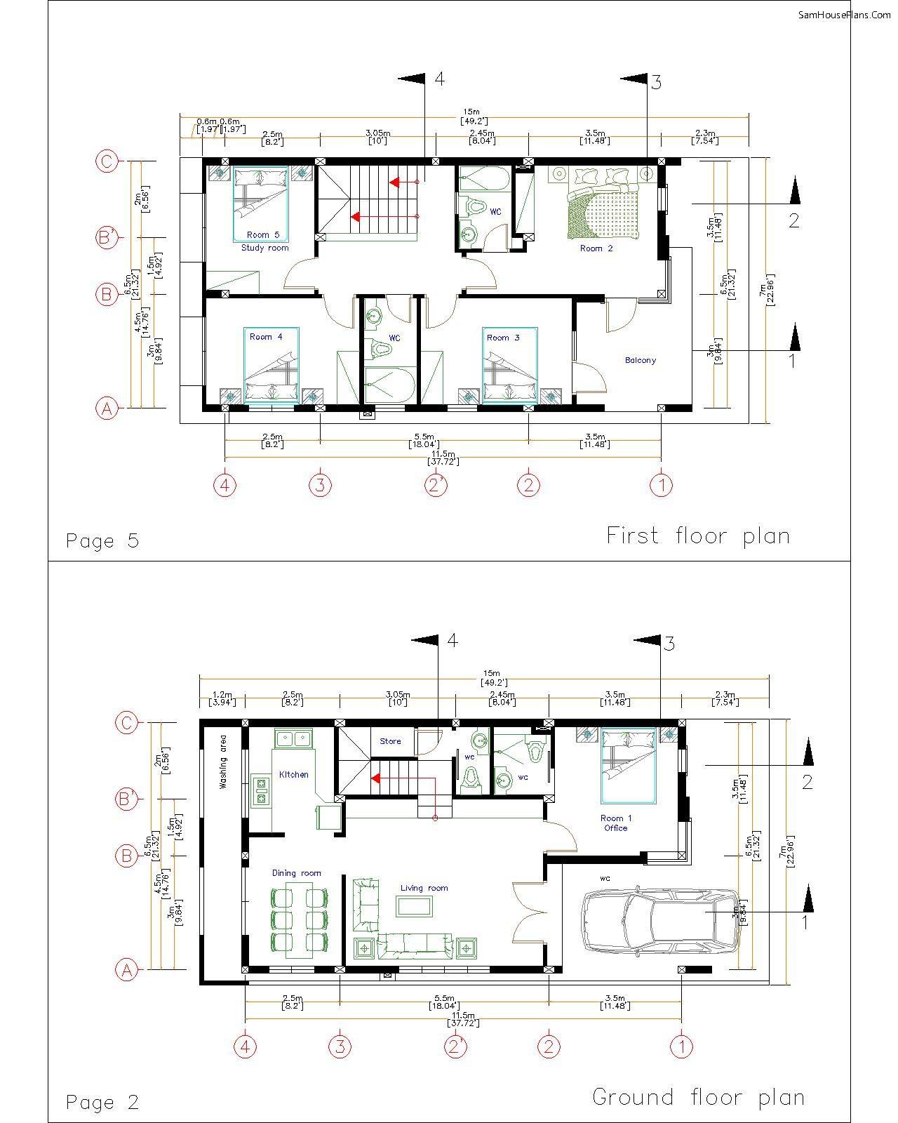 7x15m- layout floor plan
