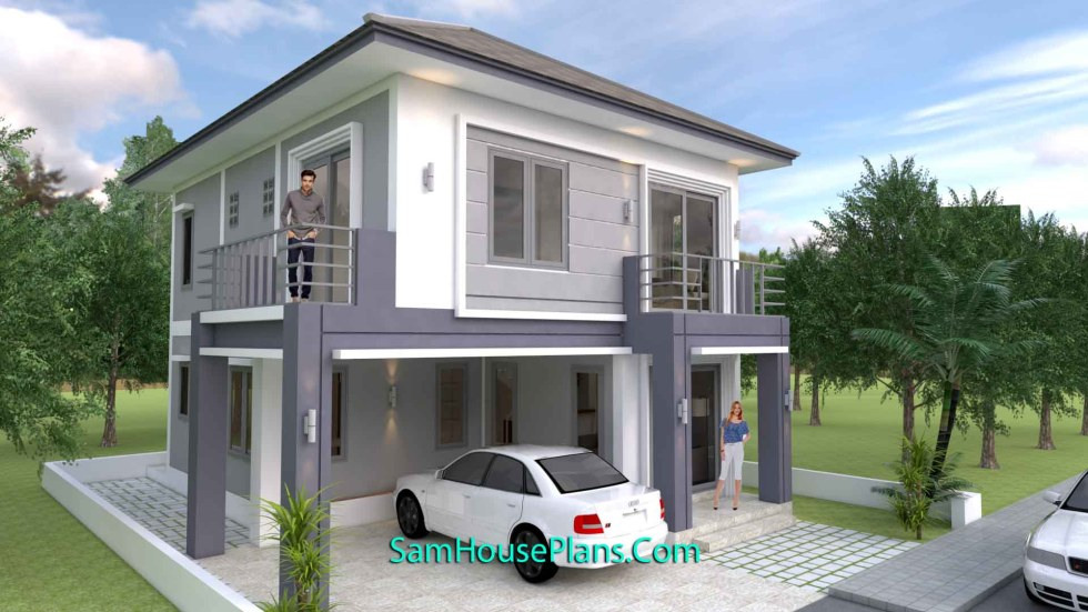 House Plans 8x10m with 4 Bedrooms
