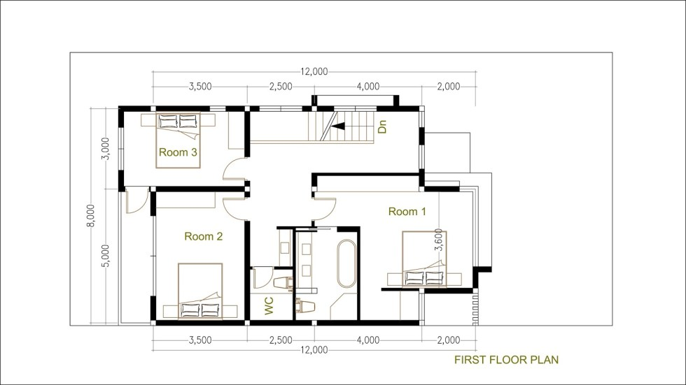 House Plans 8x12m with 4 Bedrooms