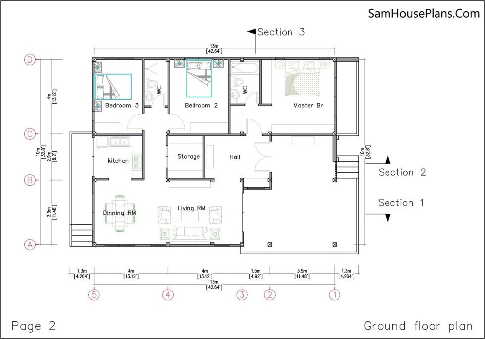Ground floor plan House design 10x13 with 3 Bedrooms Terrace roof