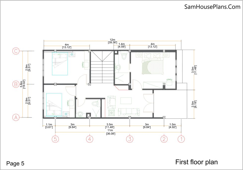 House Plans 7x15m with 3 Bedrooms