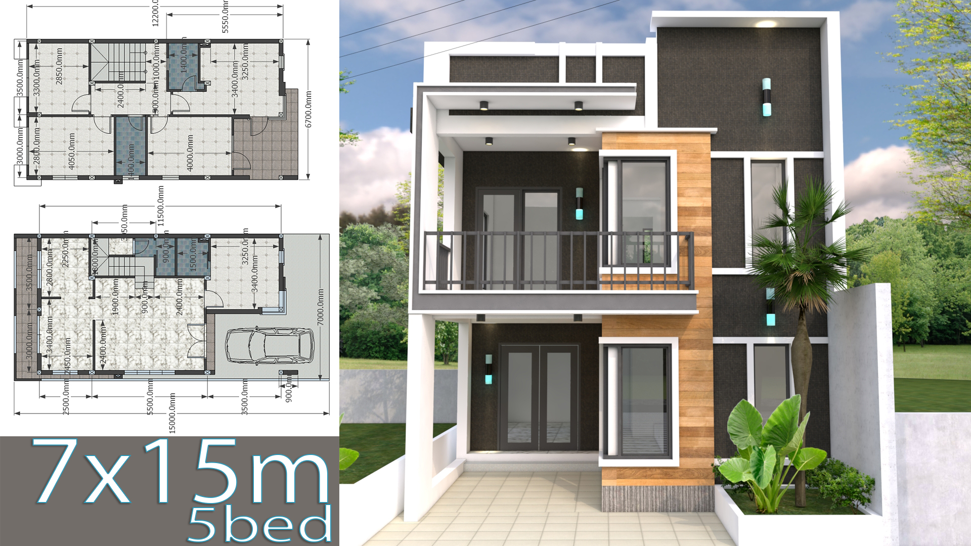 House Plans 7x15m With 4 Bedrooms Samhouseplans,Teal And Brown Color Combinations