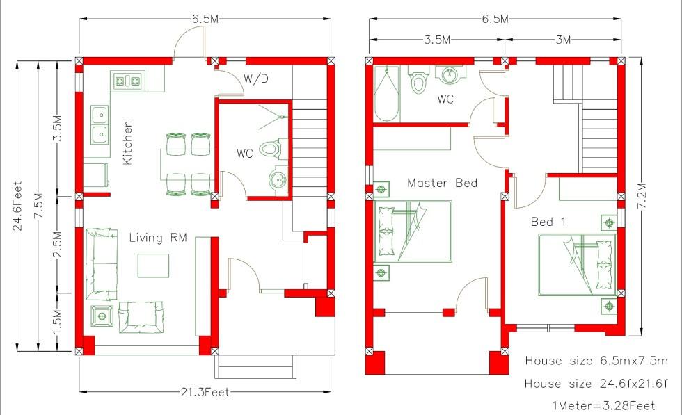 Home design 22x25f floor plan