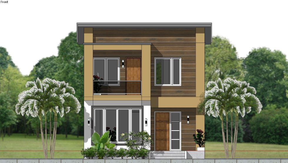 House Plan 6.5x7.5M with 2 Bedrooms Front 2