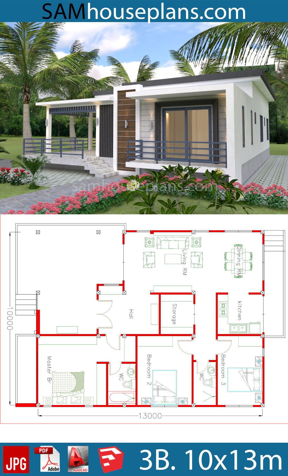 House Plans 10x13m with 3 Bedrooms - SamHousePlans