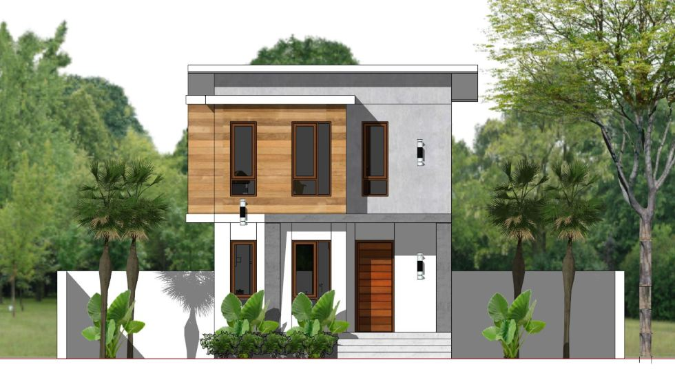 House Plans 5.4x10m with 3 Bedroom Front