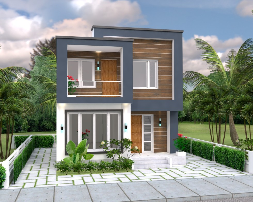 House Plans 6.5x7.5M with 2 Bedrooms 3