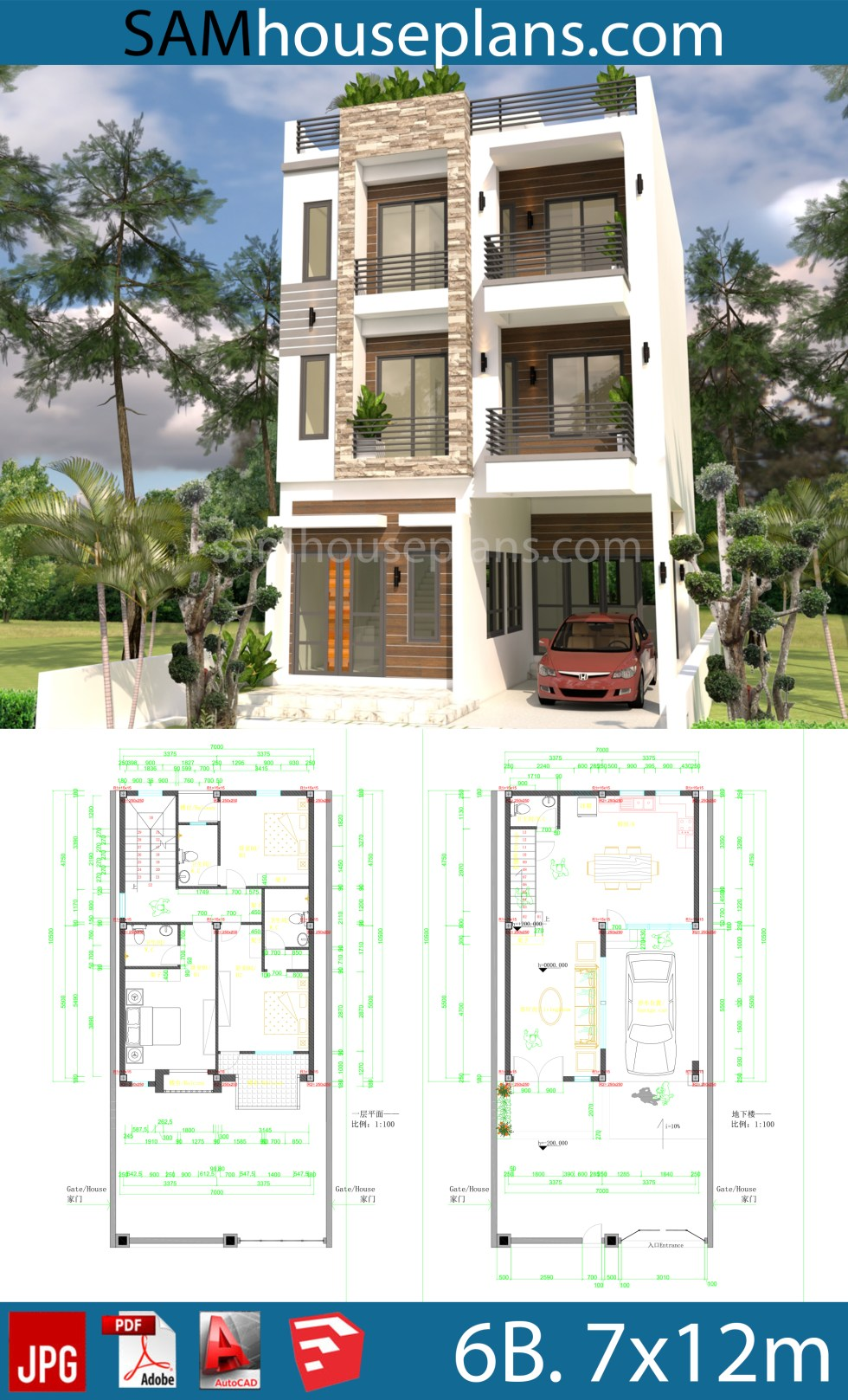 House Plans 7x10m with 6 Bedrooms.