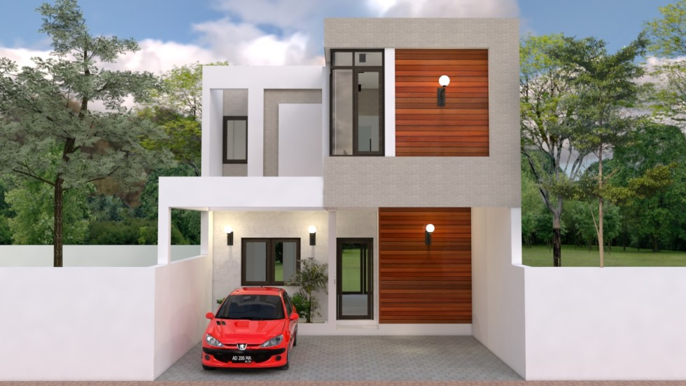 House Plans 7x13m with 3 Bedrooms Front 3d