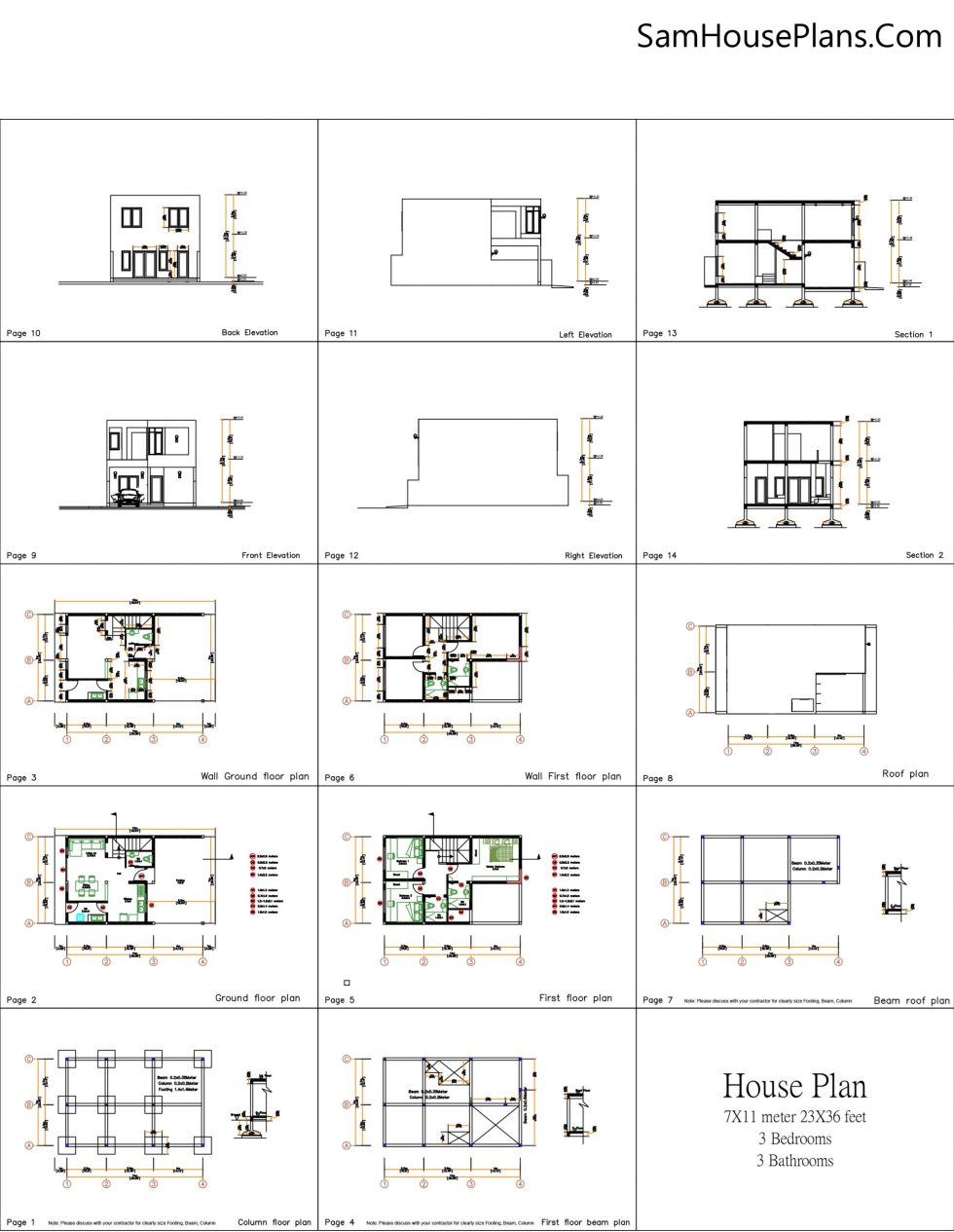 House Plans 7x13m with 3 Bedrooms Layout plan all 7x11m