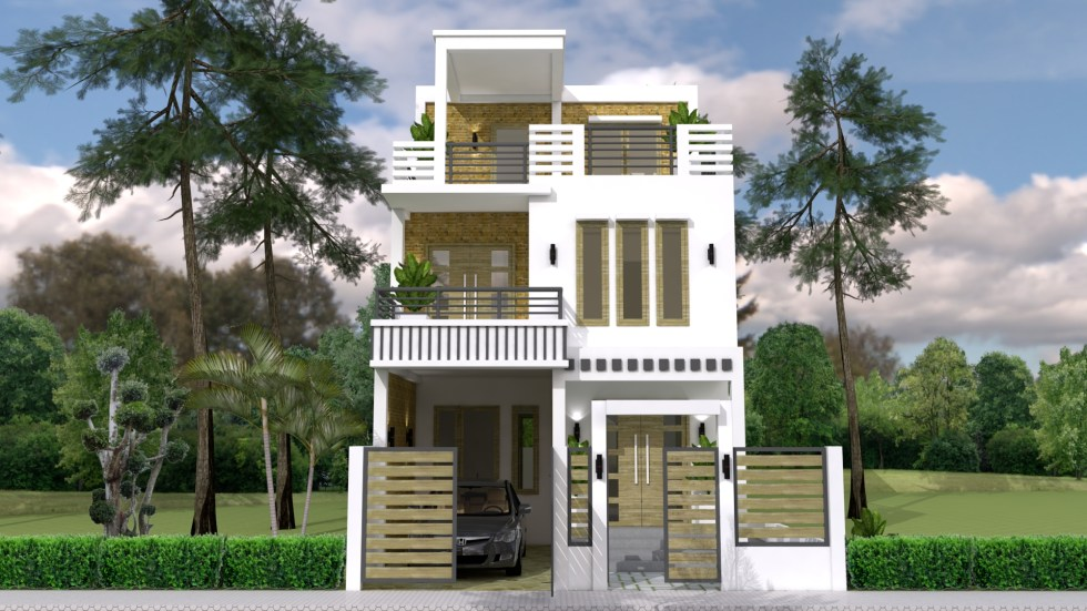 House Plans 7x15m with 3 Bedrooms front