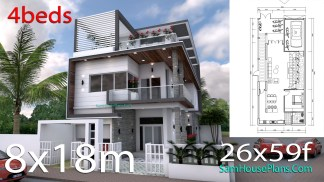 House Plans 8x18m with 4 Bedrooms