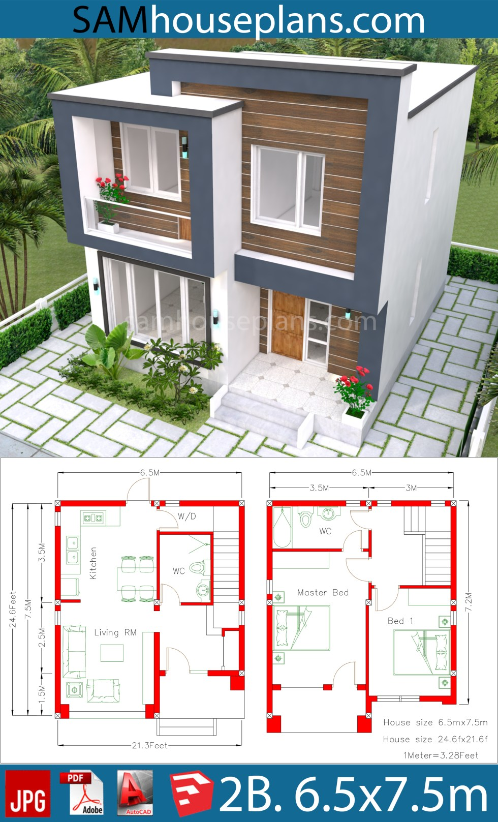 House Plans 6.5x7.5M with 2 Bedrooms - SamHousePlans