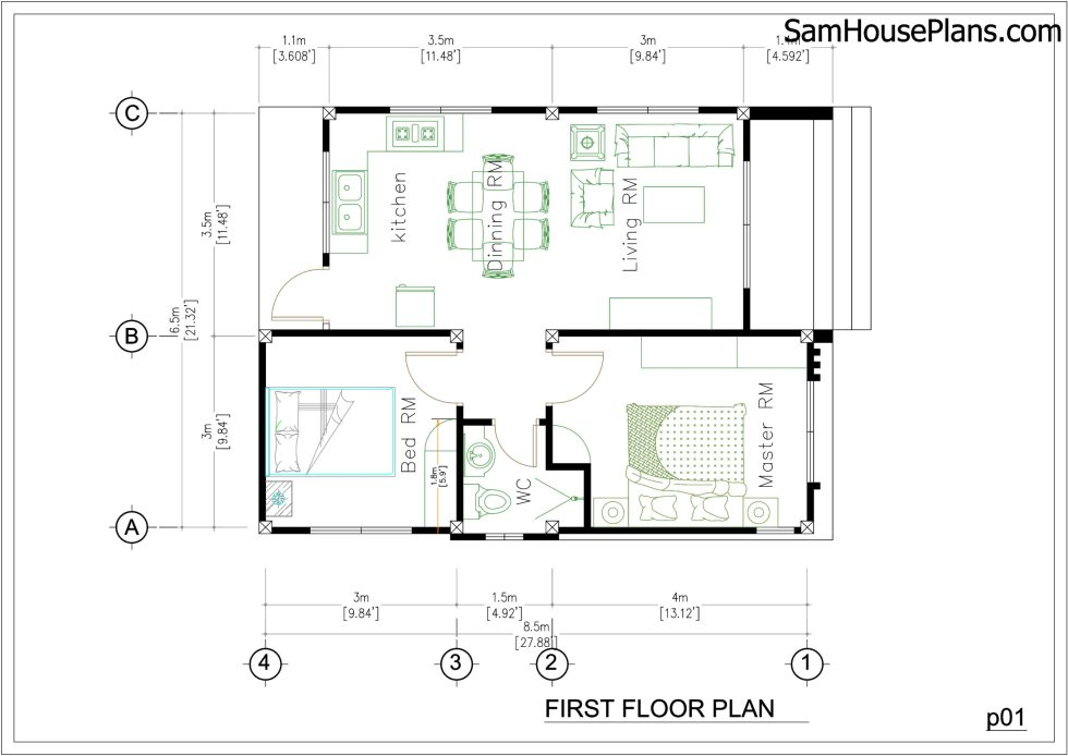 House Plans 6.5x8.5m with 2 Bedrooms