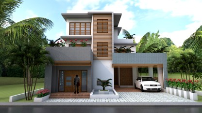House Plans 11x12m with 4 Bedrooms