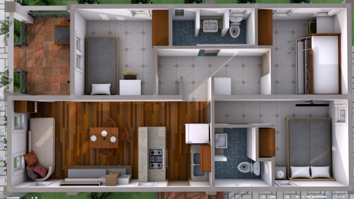 Low Budget Home Plan 6x11 Meter 3 Bedrooms layout 3d