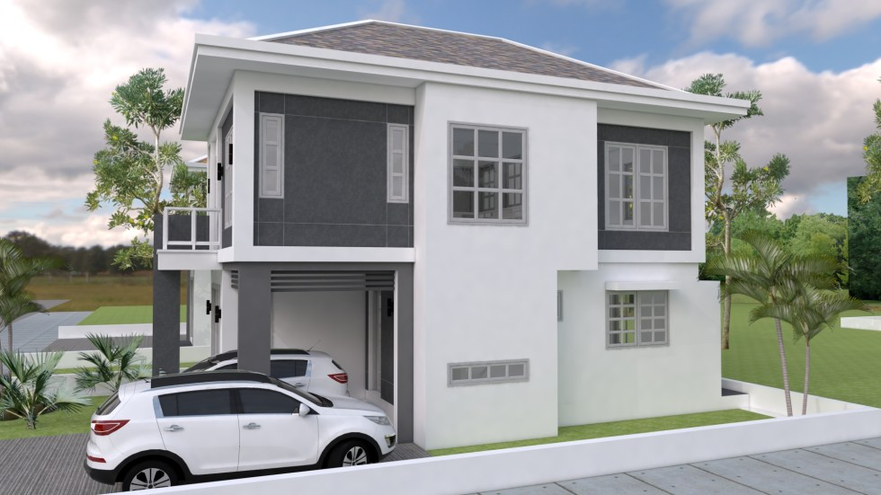 House Plans 10x16m with 3 bedrooms 1