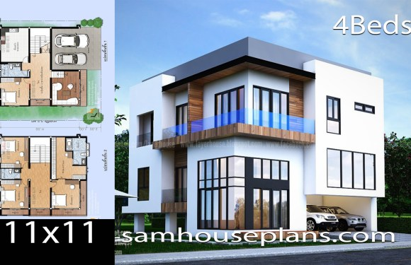House Plans 11×11 with 4 Bedrooms