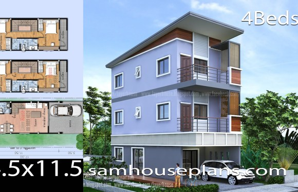 House Plans 4.5×11.5 with 4 bedrooms