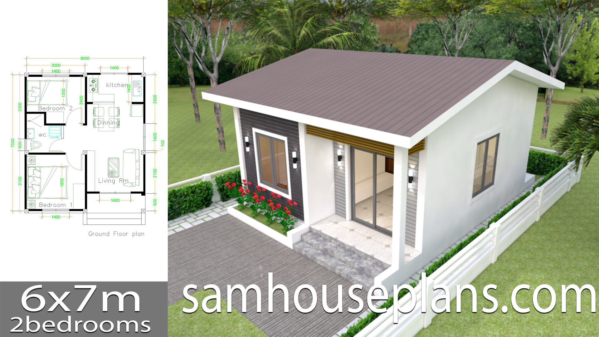 House Plans 6x7m with 2 bedrooms - Sam House Plans on very small house plans, modern house plans, bungalow house plans, small cottage house plans, kitchen house plans, luxury cottage house plans, two bedroom handicap house plans, sq ft. house plans, simple house plans, cute small house plans, 1bedroom house plans, 1 bedroom plans, country house plans, loft house plans, duplex house plans, 14 bedroom house plans, 5 bedroom house plans, north east facing house plans, floor plans, great room house plans,