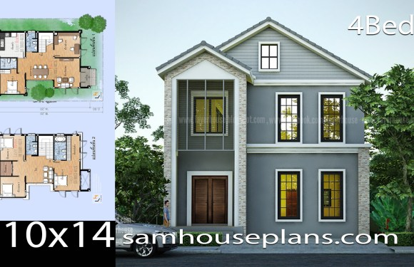 House Plans Idea 10×14 with 4 Bedrooms