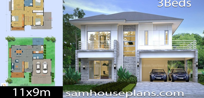 House Plans Idea 11x9m with 3 bedrooms