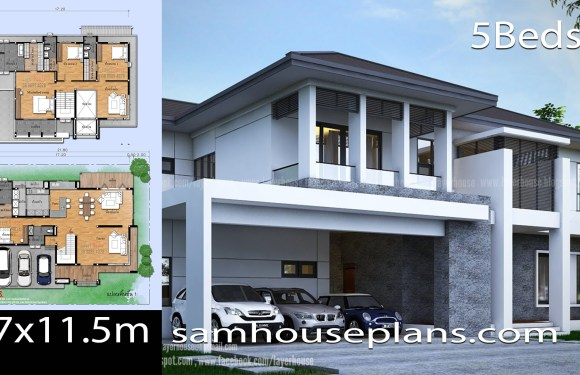 House Plans Idea 17×11.5m with 5 Bedrooms