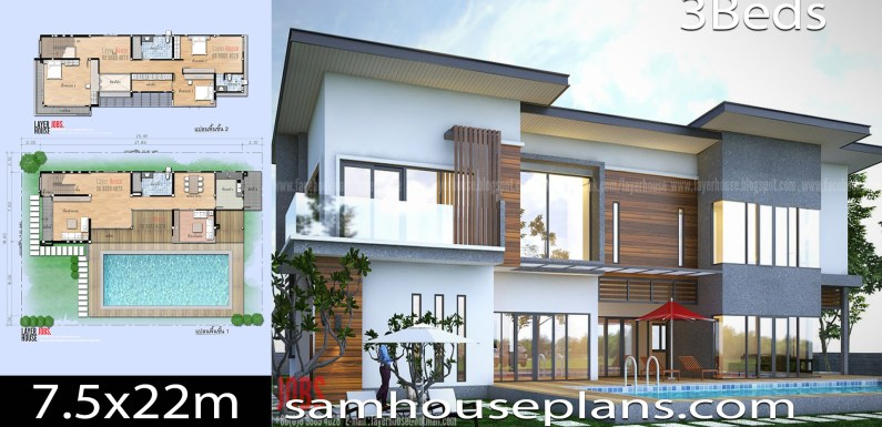 House Plans Idea 7.5×22 m with 3 bedrooms