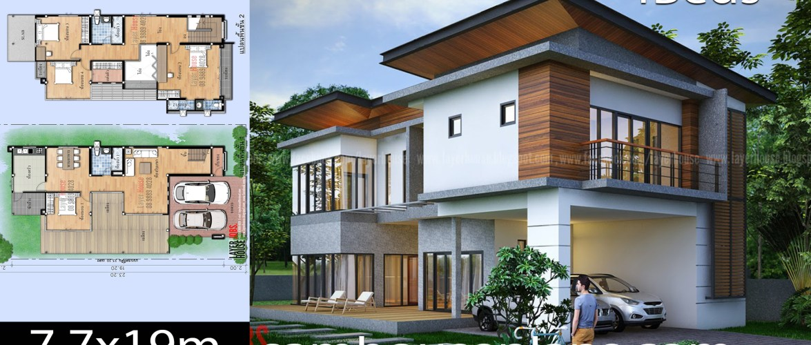House Plans Idea 7.7x19m with 4 bedrooms