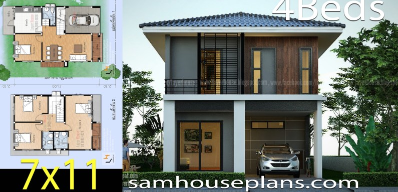 House Plans Idea 7×11 m with 4 bedrooms