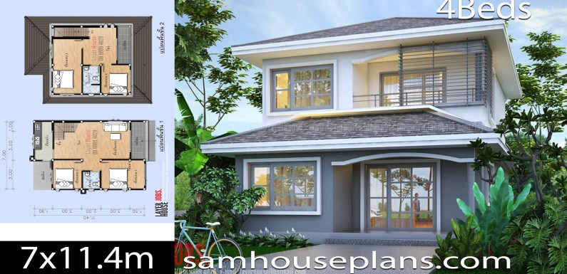 House Plans Idea 7×11.4m with 4 bedrooms