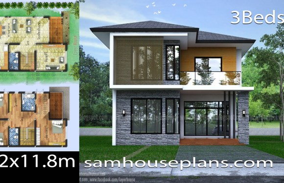 House Plans Idea 8.2×11.8m with 3 Bedrooms