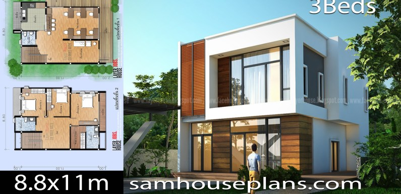 House Plans Idea 8.8x11m with 3 Bedroom