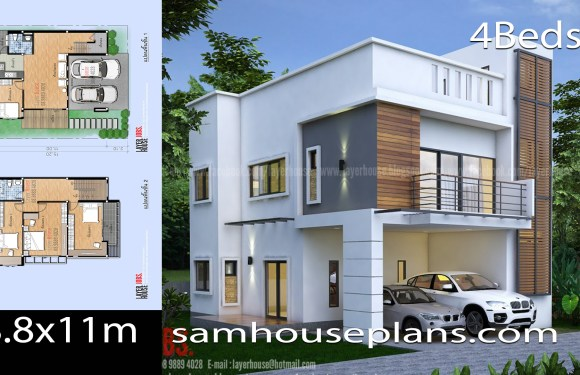 House Plans Idea 8.8x11m with 4 Bedrooms