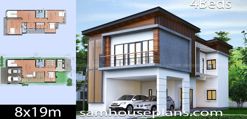 House Plans Idea 8x19m with 4 Bedrooms