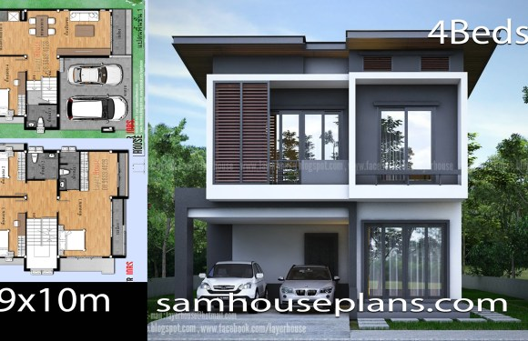 House Plans Idea 9x10m with 4 Bedrooms