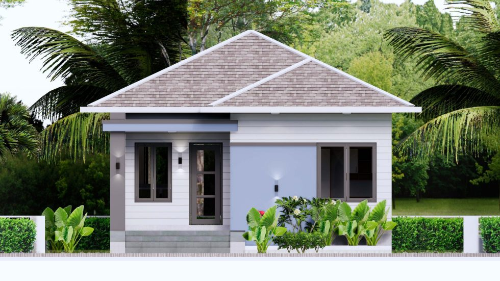 House plans 7.5x8.5m with 2 bedrooms Front